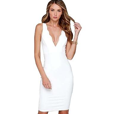 brand new 9b790 0aeca COCO clothing Damen Weiß Basic Bodycon Kleid knielang Midi ...