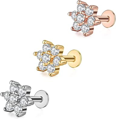 1 x SURGICAL STEEL DIAMOND SHAPED MICRO BAR TRAGUS HELIX 1.2mm