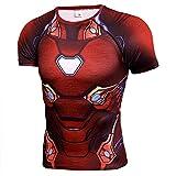 Mens Dri-Fit Compression Sport Shirt - Super Heros Red IronMen Costume Shirt