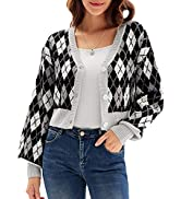 GRACE KARIN Women's Cropped Cardigan Y2K Long Sleeve Plaid V-Neck Button Down Open Front Ribbed K...