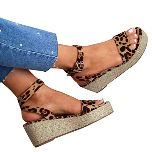 Cenglings Wedges Sandals,Women's Open Toe Leopard Print Ankle Strap Buckle Platform Wedges Espadrilles Flatform Roman Shoes