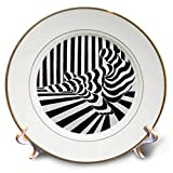 3dRose Art by Mandy Joy - Stripes - A Black and White Striped Painting of a Dancer Stretching. - 8 inch Porcelain Plate (cp_291511_1)
