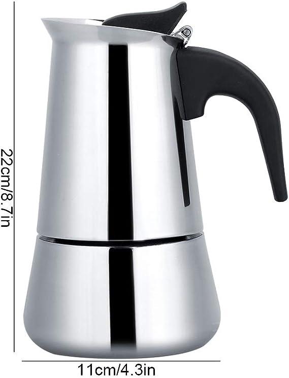 2/4/6/9 tazas Espresso Moka Pot Cafetera portátil Acero inoxidable ...