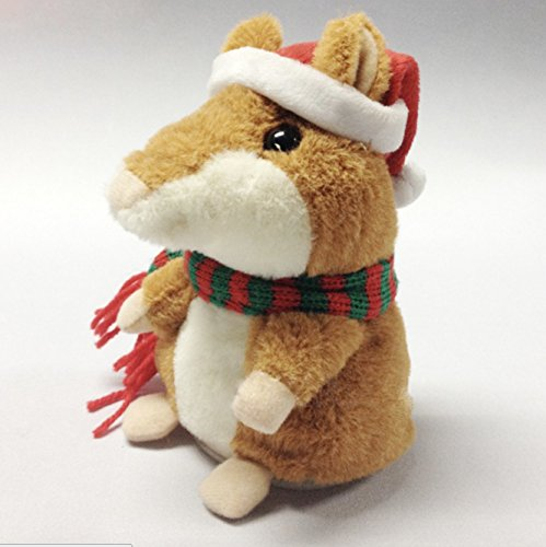 Karala Party Toys, Talking Hamster with Christmas Hat Repeats What You Say Electronic Pet Plush Animal Toy for Boy and Girl Gift,3 x 5.7 inches Brown