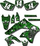 Senge Graphics 2008-2017 Kawasaki KLX 140, Flaming Gearhead Green Graphics Kit