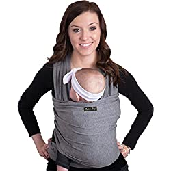 Baby Wrap Ergo Carrier Sling - by CuddleBug - Available in 8 Colors - Baby Sling, Baby Wrap Carrier, Nursing Cover - Specialized Baby Slings and Wraps for Infants and Newborn (Grey)