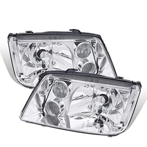 - For 99-04 VW Jetta MK4 Chrome Housing Pair Headlights Headlamps Clear W/Built-In Fog Lamp