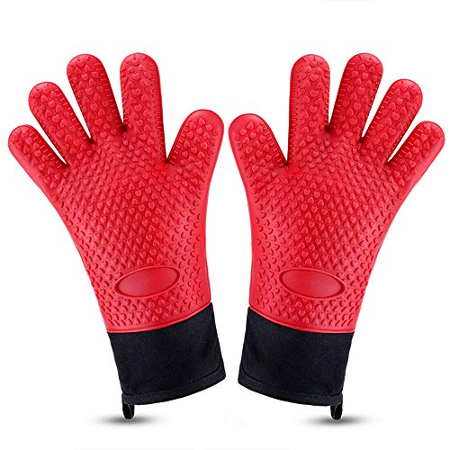 Oven Gloves, Bontip Heat Resistant Oven Mitts Silicone Waterproof Kitchen Gloves Long Baking Mitts with Inner Cotton Layer & Finger & Loop for Grilling Cooking - Mitt Chef Oven
