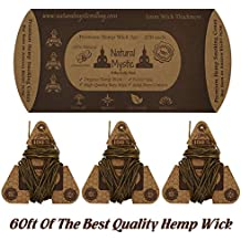 Hemp Wick Organic Beeswax Lighter - Natural Mystic PERFECT Stiff Wick For Flame Placement Each Roll Is POCKET SIZE 20ft (60ft Total)  for Even Burn Control NO DRIPPING & Pure Bees Wax Wick Flavor
