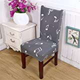 Chair Cover 1Pc Elastic Spandex Polyester Universal Vintage Music Note Character Letters Pattern Coffee House Dining 3 universal