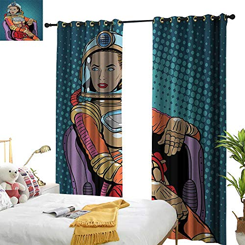 Anyangeight Astronaut,Decor Curtains by,Retro Inspired Space Lady with Purse on a Chair Girl Power Womens Day,W120 xL108,Suitable for Bedroom Living Room Study, etc.