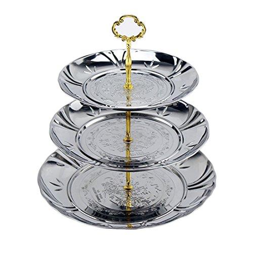 Plum Blossom Designs - Fruit Cake Buffet Plates, Petforu 3-Tier Stainless Steel Candy Dessert Cupcake Fruit Plate Stand Plum Blossom Design