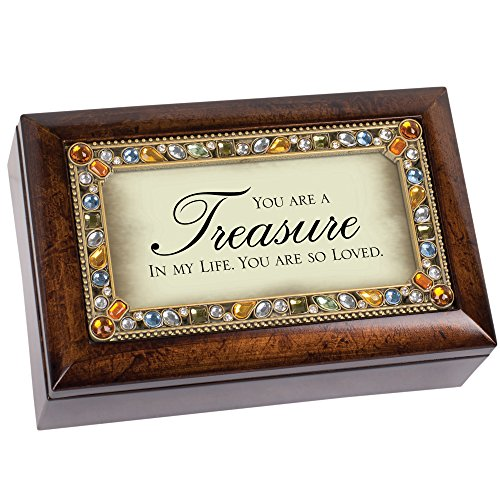 Jeweled Treasure (You Are A Treasure Jeweled Dark Wood Finish Jewelry Music Box - Plays Tune Wind Beneath My Wings)