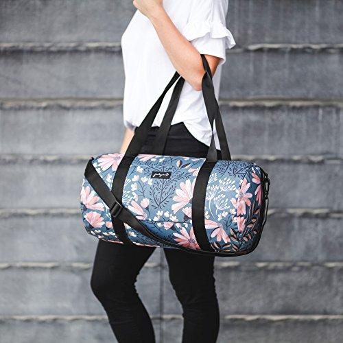 Jadyn B 19'' Barrel Women's Duffel Bag, Navy Floral by Jadyn B (Image #5)