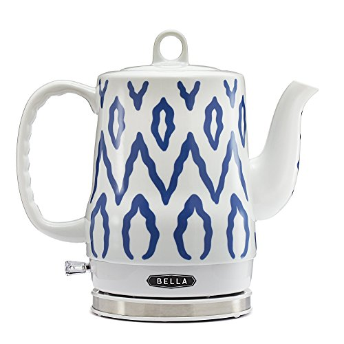 BELLA (13724) 1.2 Liter Electric Ceramic Tea Kettle with Detachable Base & Boil Dry Protection, Blue Aztec