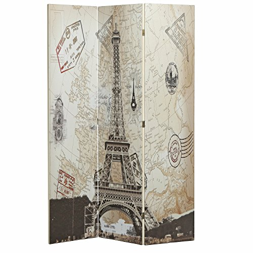 Screen Fold Privacy (MyGift Canvas Folding 3 Panel Screen, Vintage European Map Room Divider, Beige)