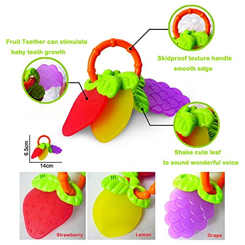 Large Product Image of Rattle Teether Set Baby Toys - Wishtime 9pcs Shake and Grap Baby Hand Rattle Toy for Newborn with Giant Bottle Gift for 3 6 9 12 18Month Baby Infant Newborn Chritsmas Gift