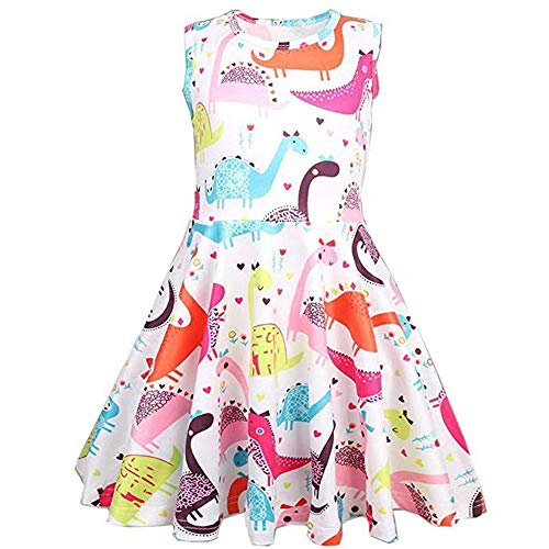 YOUNGER TREE Toddler Kids Baby Girl Cartoon Dinosaur Print Tunic Casual Princess Party Dress (Multicolor, 3-4 Years) -