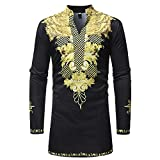 Shirts For Men, HOT SALE !! Farjing African Dashiki Men's Traditional National Hot Gold Printed Long-sleeved Shirt (XL, Black1)