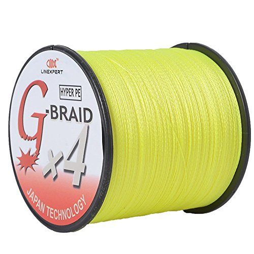 LINEXPERT G-BRAID Super Strong 100% Pe Multifilament Braided Fishing Line – 300Yards, 500Yards, 1000Yards -Yellow, Multicolor, Gray, Green