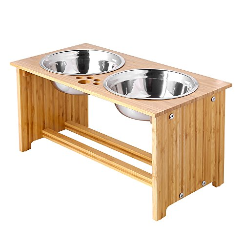 (FOREYY Raised Pet Bowls for Medium and Large Dogs - Bamboo Elevated Dog Cat Food and Water Bowls Stand Feeder with 2 Stainless Steel Bowls and Anti Slip Feet (New 10'' Tall) )