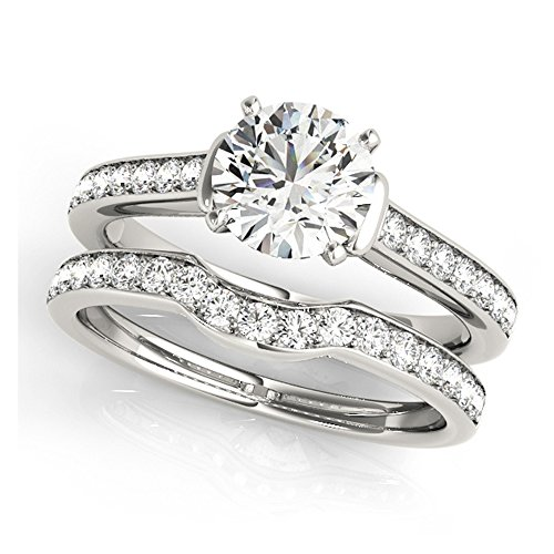 14K White Gold Unique Wedding Diamond Bridal Set Style MT50936