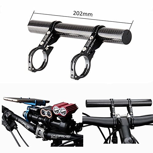 Gub KBROTECH 31.8MM Double Clamp Carbon Fiber Super Long Bike Bicycle Handlebar Extender Extension Light Lamp Phone Mount Bracket Stand Holder Space Saver by Gub (Image #1)