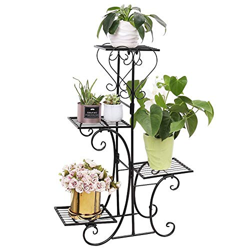 4 Tier Indoor Plant Stand Flower Pot Shelf Iron Stand Outdoor Tiered Displaying Plant Holders, Black
