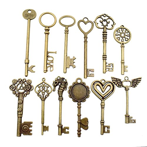 12 PCS Big Skeleton Key Charms Collection - Mixed Antique Bronze Steampunk Gear Wedding Heart Key Metal Pendants for Jewelry Making DIY Findings (12 Bronze Key HM29) (4in Pendant Heart)
