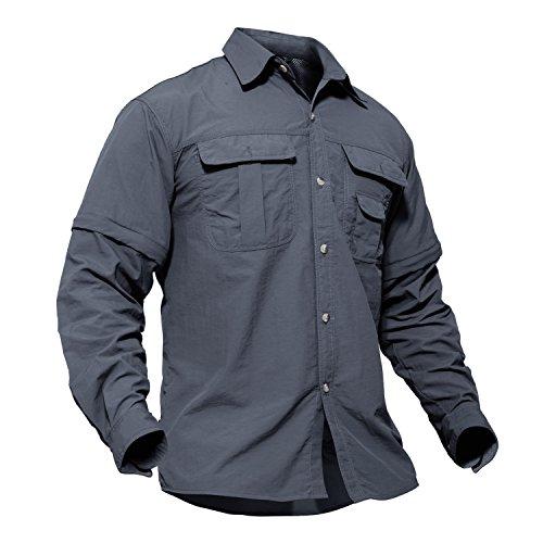 Safari Shirt Dress (TACVASEN Unisex Lightweight Casual Comfy Battle Ripstop Short Long Sleeve Shirt Gray)