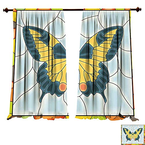 Room Darkening Wide Curtains Butterflies ation Butterfly in Stained Glass Window with Frame Wing Spring Garden Illustration Decor Curtains (W96 x L84 -Inch 2 Panels) ()