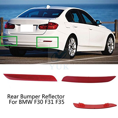YUK Side Fog Warn Light Red Lens Rear Bumper Reflector For BMW F30 2012-2015