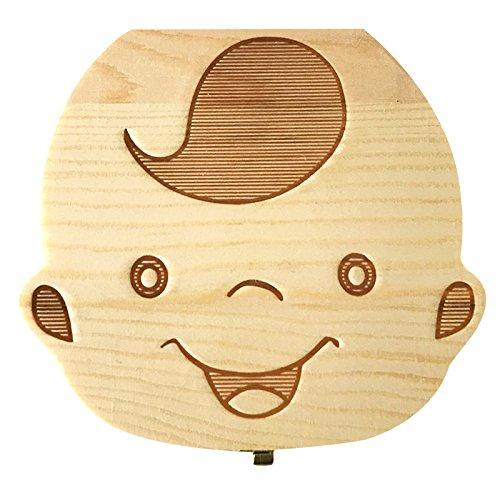 Xuxuou Bo/îte /à Dents de Lait Rangement Dents Entreposage Bois Lait Bo/îte Cadeau Souvenir pour Fille et Gar/çon Enfant Nouveau-n/é Baby(Version fran/çaise )