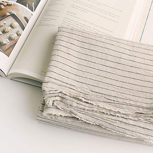 - Linen Fabric Stripe Pattern by The Yards 145cm Cozy French Blue (Stripe)