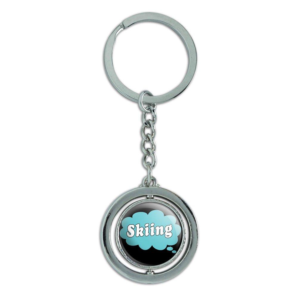 Dreaming of Skifahren Blau Spinning rund Metall Schlüsselanhänger Schlüsselanhänger Ring