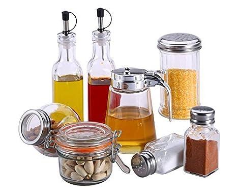 Especias de Juego de Vasos 8 Piezas Salero Pimentero Miel dispensador dispensador de vinagre vinagrera (