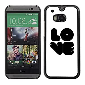 Soft Silicone Rubber Case Hard Cover Protective Accessory Compatible with HTC ONE M8 2014 - Black LOVE
