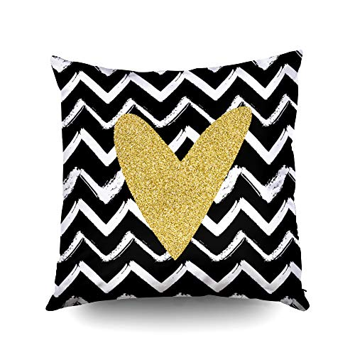 20x20 Inch Pillow Cover,Seamless pattern with hand drawn chevron stripes and gold glitter heart for wrapping wallpaper textile invitation wedding cards flyers banners postersCapsceoll Throw Pillow Cov (Stripe Chevron Invitation)