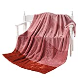 "DECOSY Luxurious Yarn Dyed Gradient Throw Chair Blanket Rust Red 50""x 60"" - Plush Velvet Sofa TV Blanket - Reversible Couch Solid Flannel Fleece Blanket - Camping Picnic Blanket"