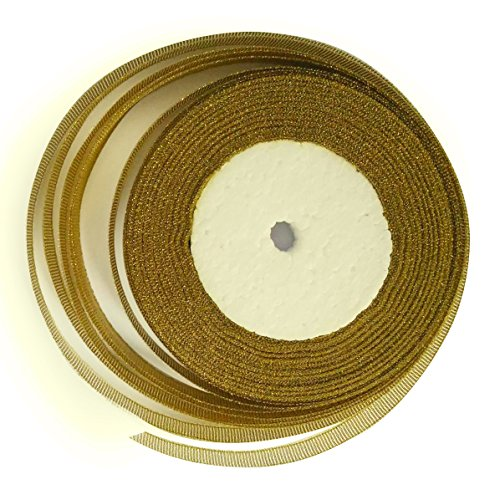 - KGS Glitter Metallic Sparkle Ribbon | 25 Yards x 1/2 inch | 1 roll/Pack (Golden)
