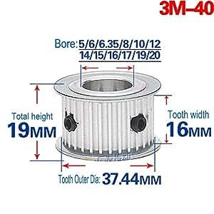 3M20T Timing Belt Pulley Gear Wheel Sprocket 5-10mm Bore For 10mm Width Belt