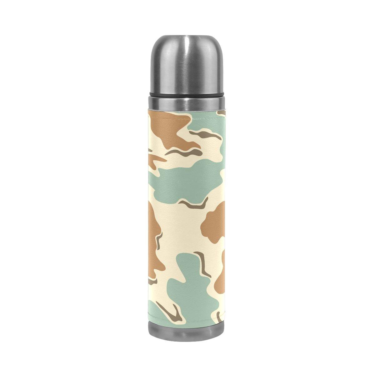JSTeL迷彩16ステンレススチールウォーターボトル真空断熱真空ボトルを漏れ防止ダブルホットコーヒーまたはコールドティー+ Drink Cup Top 500 ml B075F6NRPR