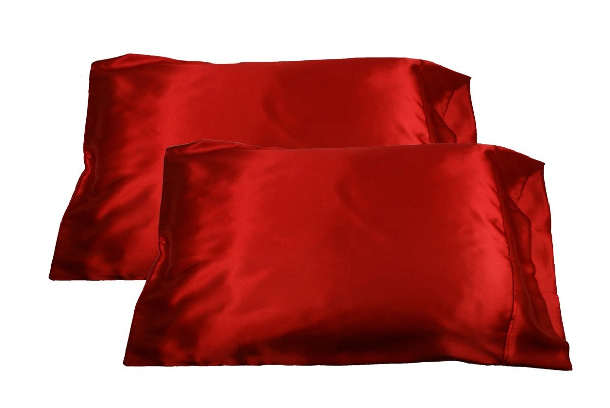 2pc New Queen/Standard Silk~y Satin Pillow Case Multiple Colors (Black) by LJL Design Jehahn