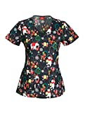 Everyday Scrubs Signature By Dickies Women's V-Neck Christmas Print Scrub Top Small Print