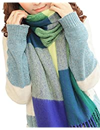 Spring fever Vintage Style Plaid Extra Large Warm Wool Feel Women Wrap Scarf Blue Green