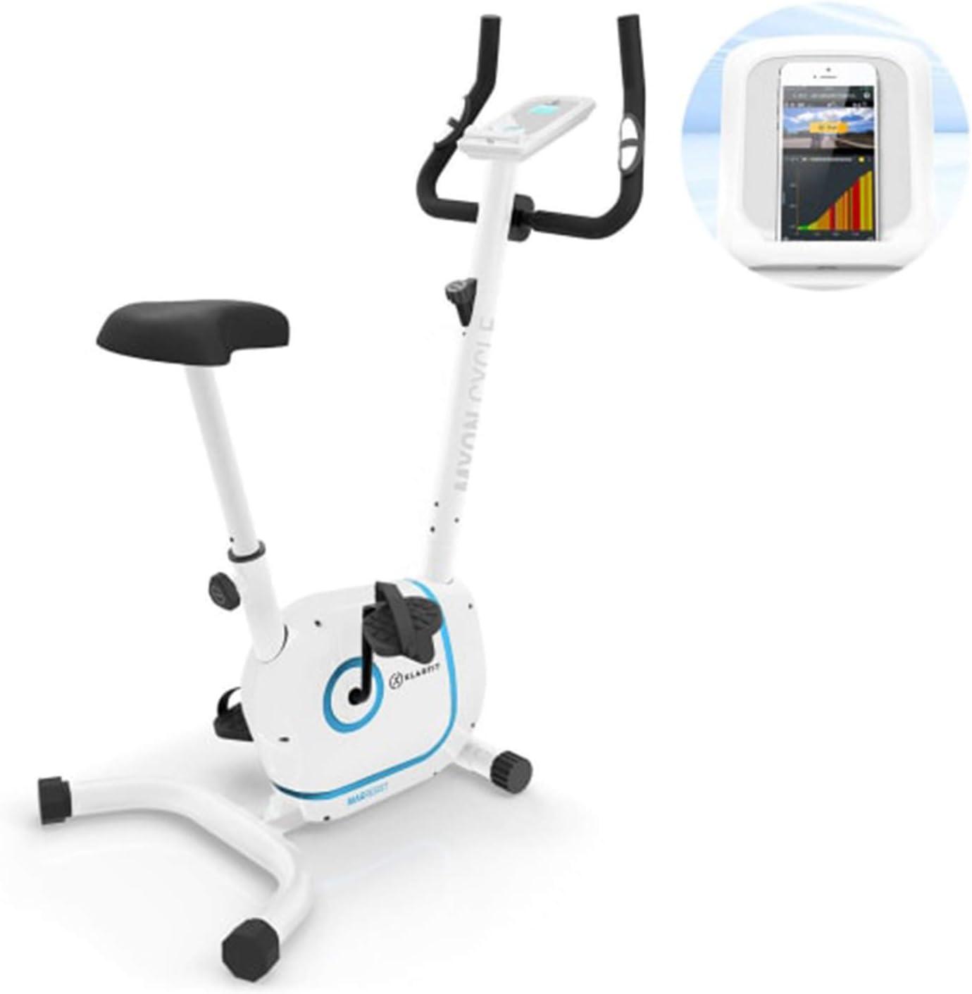 KLAR FIT Myon Cycle Bicicleta estática - Volante de inercia de 12kg, Tracción por Correa con tecnología Silent Belt, 8 Niveles, Pulsómetro, Altura Regulable, Soporte para Tablet