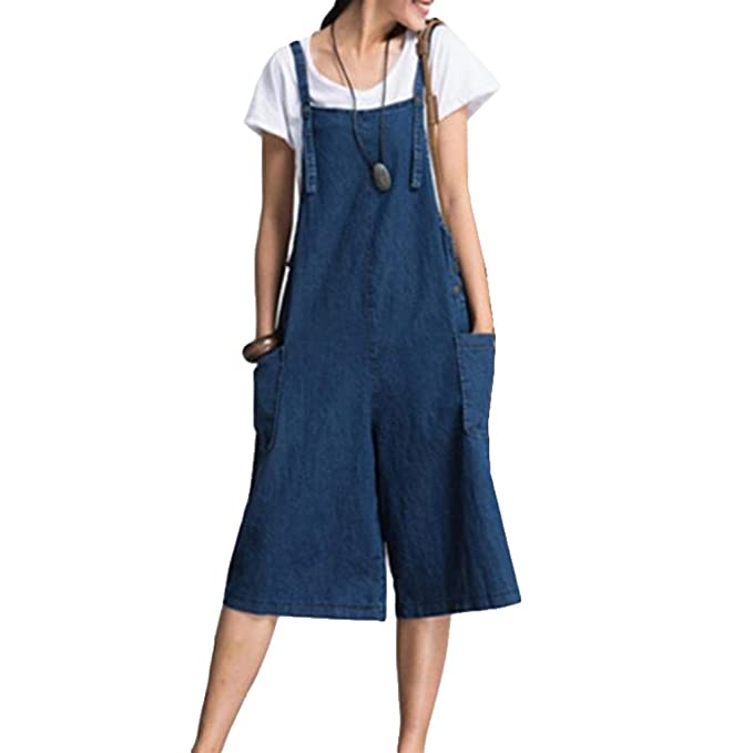 8f611d9411 Hibote Women Jumpsuit Casual Baggy Denim Dungarees Overalls Loose Fit Jumpsuit  Playsuit Pants Trousers Sleeveless Pockets Wide Legs Romper L-2XL  ...