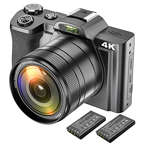 Digital 4K Video Camera Camcorder Ultra HD 48MP WiFi YouTube Vlogging Camera with Wide Angle Lens 3.5″ IPS Touch Screen Camera Recorder 16X Digital Zoom, 2 Batteries