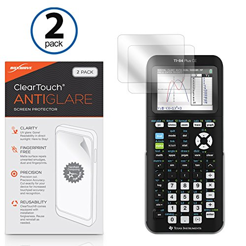 Texas Instrument s TI-84 Plus CE Screen Protector, BoxWave [ClearTouch Anti-Glare (2-Pack)] Anti-Fingerprint Matte Film Skin for Texas Instrument s TI-84 Plus CE (Ti Screens)