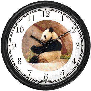 WatchBuddy Photo Giant Panda or Panda Bear Animal Wall Clock Timepieces Hunter Green Frame